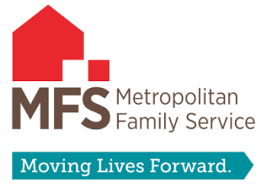 "Logo for ""Metropolitan Family Service"" with the text ""Moving Lives Forward"""