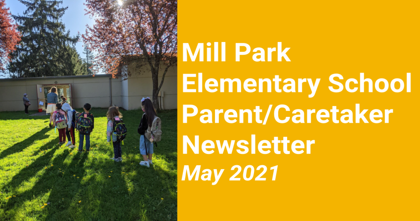 Mill Park Elementary School's May newsletter front page. Photo of students entering school on the left, and on the right a yellow background with white text depicting the newsletter title.