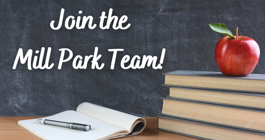 """""""Join the Mill Park Team!"""" with a desk and chalkboard, book stacked with an apple on top."""