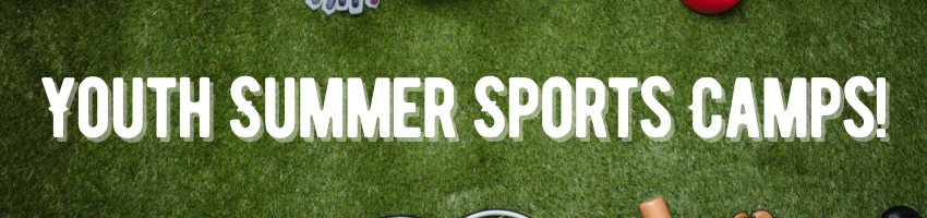 """Grassy background with sports materials (balls, shoes, etc) that reads """"Youth summer sports camps"""""""